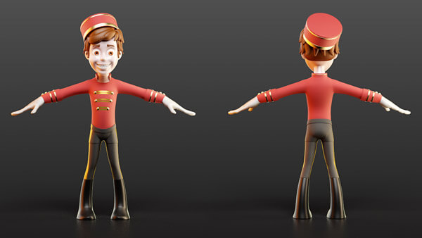 3D Charakter: Pageboy T-Pose | Modelling, Texturierung, Rigging, Morpherstellung, Beleuchtung & Rendering